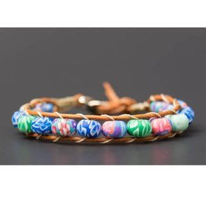 Handmade Floral Scheme Beads Single Wrap Bracelet